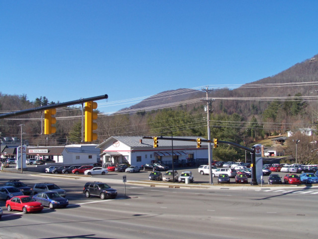 Premier Corner At Stoplight Intersection In Boone, North Carolina